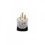 20 Amp Straight Blade Plug w/ Safety Grip, 2-Pole, 3-Wire, #18-12 AWG, 250V