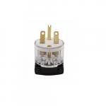 15 Amp Straight Blade Plug w/ Safety Grip, 2-Pole, 3-Wire, #18-12 AWG, 250V