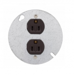 """15 Amp Duplex Receptacle w/ 4"""" Steel Cover, 2-Pole, 3-Wire, #14-10 AWG, 125V, Brown"""