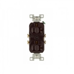 20 Amp Duplex Receptacle, 2-Pole, 3-Wire, #14-10 AWG, 125V, Brown