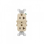 20 Amp Duplex Receptacle, 2-Pole, 3-Wire, #14-10 AWG, 125V, Ivory