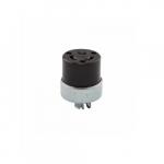 20 Amp Locking Connector w/ Safety Grip, 3-Pole, #14-8 AWG, 120V-208V, Black