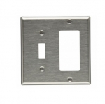 2-Gang Toggle & Decora Wall Plate, Standard, Steel