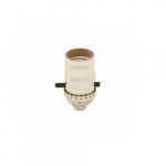 660W Lamp Holder, Medium Base, Aluminum, Push Through Switch, Brass