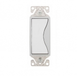 15 Amp Designer Light Switch, Single Pole, White Satin