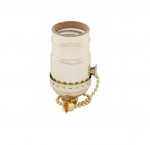 660W Incandescent Lampholder, Pull Chain, Brass Dipped Aluminum