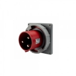 100 Amp Pin and Sleeve Inlet, 2-Pole, 3-Wire, 480V, Red