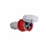 100 Amp Pin and Sleeve Connector, 2-Pole, 3-Wire, 480V, Red