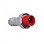100 Amp Pin and Sleeve Plug, 2-Pole, 3-Wire, 480V, Red