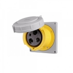 100 Amp Pin and Sleeve Receptacle, 2-Pole, 3-Wire, 125V, Yellow