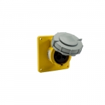 16 Amp Pin and Sleeve Receptacle, 2-Pole, 3-Wire, 130V, Yellow
