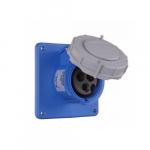16 Amp Pin and Sleeve Receptacle, 2-Pole, 3-Wire, 240V, Blue
