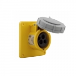 20 Amp Pin and Sleeve Receptacle, 2-Pole, 3-Wire, 125V, Yellow