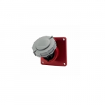 20 Amp Pin and Sleeve Receptacle, 2-Pole, 3-Wire, 480V, Red