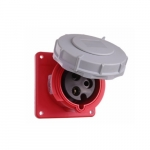 30 Amp Pin and Sleeve Receptacle, 2-Pole, 3-Wire, 480V, Red