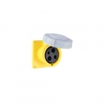 32 Amp Pin and Sleeve Receptacle, 2-Pole, 3-Wire, 130V, Yellow