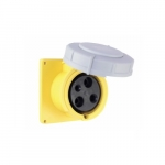 60 Amp Pin and Sleeve Receptacle, 2-Pole, 3-Wire, 125V, Yellow