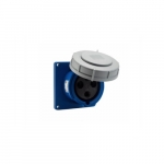 60 Amp Pin and Sleeve Receptacle, 2-Pole, 3-Wire, 250V, Blue