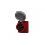 60 Amp Pin and Sleeve Receptacle, 2-Pole, 3-Wire, 480V, Red