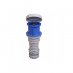 63 Amp Pin and Sleeve Connector, 2-Pole, 3-Wire, 240V, Blue