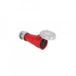 125 Amp Pin and Sleeve Connector, 3-Pole, 4-Wire, 415V, Red