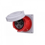 125 Amp Pin and Sleeve Receptacle, 3-Pole, 4-Wire, 415V, Red
