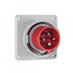63 Amp Pin and Sleeve Inlet, 3-Pole, 4-Wire, 415V, Red