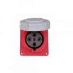 63 Amp Pin and Sleeve Receptacle, 3-Pole, 4-Wire, 415V, Red