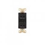 15 Amp Duplex Receptacle, Auto-Grounded, Nylon, Black