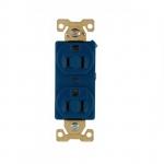 15 Amp Duplex Receptacle, Auto-Grounded, Nylon, Blue