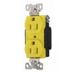 15 Amp Duplex Receptacle, Auto Ground , Yellow