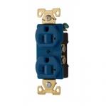 20 Amp Duplex Receptacle, Auto Ground, Blue