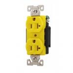 20 Amp Duplex Receptacle, Auto Ground, Yellow