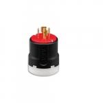 20 Amp Ultra Grip Locking Plug, NEMA L16-20, 3-Pole, 480V, Red & Black