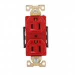 15 Amp Duplex Receptacle, Isolated Ground, Red