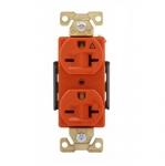 20 Amp Duplex Receptacle, Isolated Ground, NEMA 6-20R, Orange