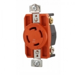 30 Amp Single Receptacle, Locking, NEMA L14-30, Industrial, Orange