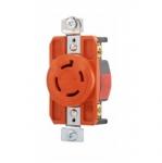 20 Amp Single Receptacle, Locking, NEMA L15-20, Industrial, Orange
