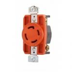 30 Amp Single Receptacle, Locking, NEMA L15-30, Industrial, Orange