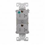 20 Amp Duplex Receptacle, Tamper Resistant, Hospital Grade, Grey