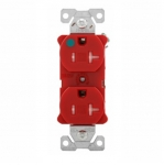 20 Amp Duplex Receptacle, Tamper Resistant, Hospital Grade, Red