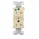 20 Amp Duplex Receptacle, Tamper Resistant, Hospital Grade, Ivory