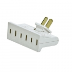 15 Amp Swivel 3 Outlet Tap, Single Receptacle, White