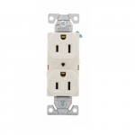 15 Amp Duplex Receptacle, Auto-Grounded, Commercial, Light Almond