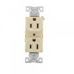 15 Amp Duplex Receptacle, Auto-Grounded, Commercial, Ivory