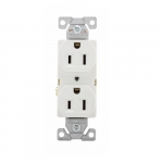 15 Amp Duplex Receptacle, Auto-Grounded, Commercial, White