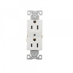 15 Amp Duplex Receptacle w/ No Ears, 2-Pole, 3-Wire, 125V, #14-#10 AWG, White