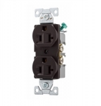 20 Amp Duplex Receptacle , Auto-Grounded, Commercial, Brown
