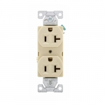 20 Amp Duplex Receptacle, Auto-Grounded, Commercial, Ivory