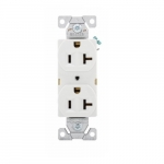 20 Amp Duplex Receptacle, Auto-Grounded, Commercial, White